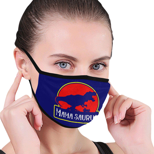 Mamasaurus Funny Mothers Day Washable Reusable Face Mask With Filter Pocket-Face Mask-JoyHip.Com