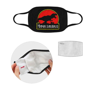 Mamasaurus Funny Mothers Day Washable Reusable Face Mask With Filter Pocket-Face Mask-L-Black-JoyHip.Com