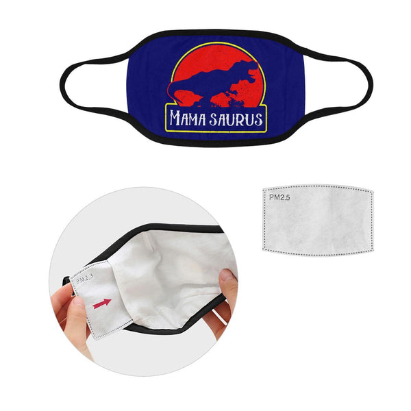 Mamasaurus Funny Mothers Day Washable Reusable Face Mask With Filter Pocket-Face Mask-L-Navy-JoyHip.Com