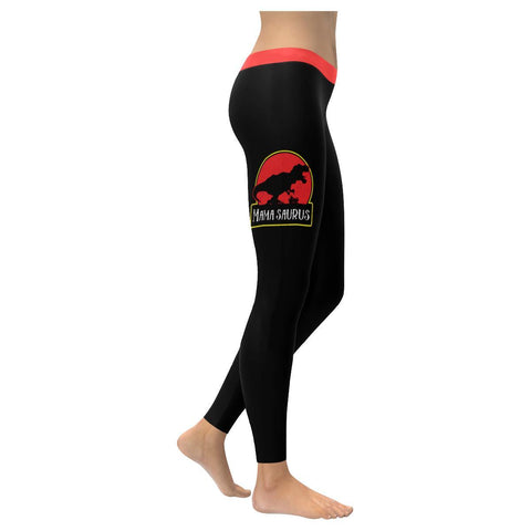 Mamasaurus Soft Leggings For Women Cool Cute Funny 1st Mothers Day Gifts Ideas-XXS-Black-JoyHip.Com