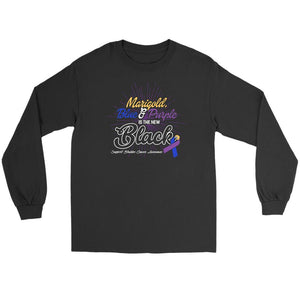 Marigold Blue & Purple Is The New Black Support Bladder Cancer Awareness Long T-T-shirt-Gildan Long Sleeve Tee-Black-JoyHip.Com