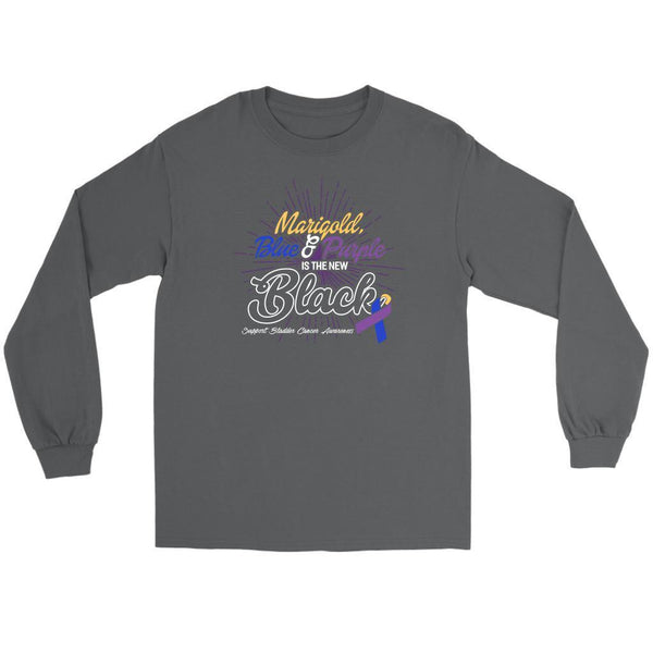 Marigold Blue & Purple Is The New Black Support Bladder Cancer Awareness Long T-T-shirt-Gildan Long Sleeve Tee-Grey-JoyHip.Com