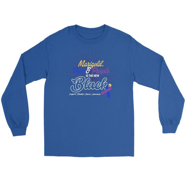 Marigold Blue & Purple Is The New Black Support Bladder Cancer Awareness Long T-T-shirt-Gildan Long Sleeve Tee-Royal Blue-JoyHip.Com