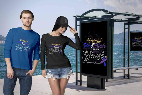 Marigold Blue & Purple Is The New Black Support Bladder Cancer Awareness Long T-T-shirt-JoyHip.Com