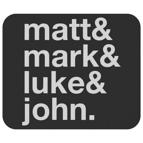 Matt & Mark & Luke & John Mouse Pad Unique Christian Gift Idea Religious Present-Mousepads-Black-JoyHip.Com