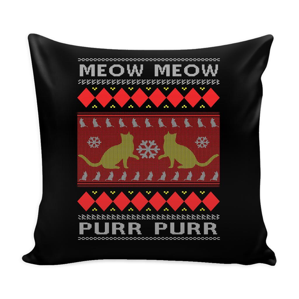 Meow Meow Purr Purr Cat Lover Festive Funny Ugly Christmas Holiday Sweater Decorative Throw Pillow Cases Cover(4 Colors)-Pillows-Black-JoyHip.Com