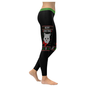 Meowy Christmas Cat Lover Funny Gift Idea Ugly Christmas Sweater Womens Leggings-XXS-Black-JoyHip.Com