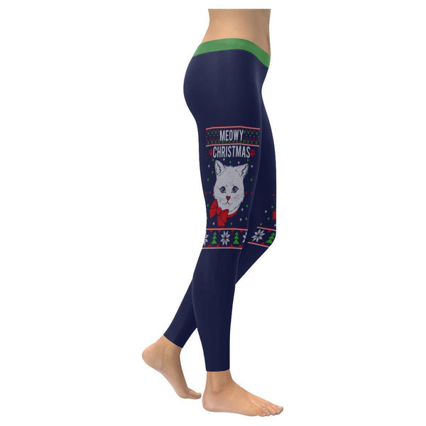 Meowy Christmas Cat Lover Funny Gift Idea Ugly Christmas Sweater Womens Leggings-XXS-Navy-JoyHip.Com
