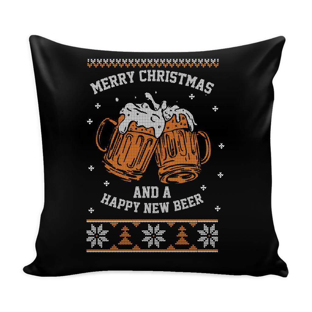 Merry Christmas And A Happy New Beer Funny Festive Funny Ugly Christmas Holiday Sweater Decorative Throw Pillow Cases Cover(4 Colors)-Pillows-Black-JoyHip.Com