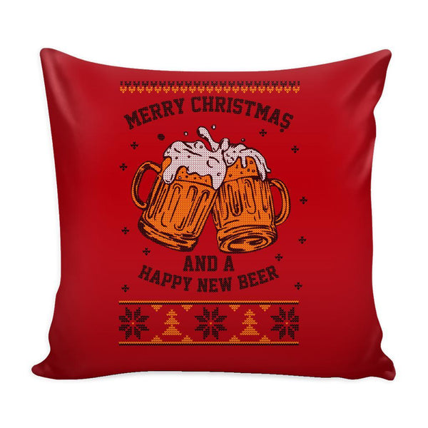 Merry Christmas And A Happy New Beer Funny Festive Funny Ugly Christmas Holiday Sweater Decorative Throw Pillow Cases Cover(4 Colors)-Pillows-Red-JoyHip.Com
