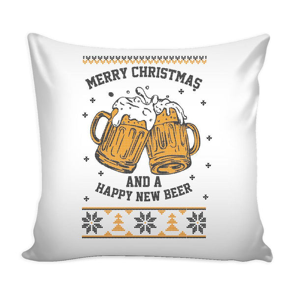 Merry Christmas And A Happy New Beer Funny Festive Funny Ugly Christmas Holiday Sweater Decorative Throw Pillow Cases Cover(4 Colors)-Pillows-White-JoyHip.Com