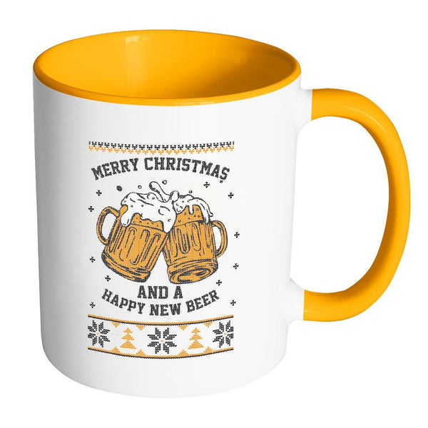 Merry Christmas And A Happy New Beer Funny Ugly Christmas Sweater 11oz Accent Coffee Mug (7 Colors)-Drinkware-Accent Mug - Orange-JoyHip.Com