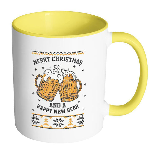 Merry Christmas And A Happy New Beer Funny Ugly Christmas Sweater 11oz Accent Coffee Mug (7 Colors)-Drinkware-Accent Mug - Yellow-JoyHip.Com