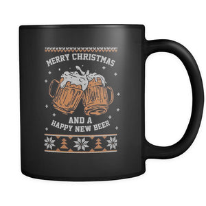 Merry Christmas And A Happy New Beer Funny Ugly Christmas Sweater Black 11oz Coffee Mug-Drinkware-Ugly Christmas Sweater Black 11oz Coffee Mug-JoyHip.Com