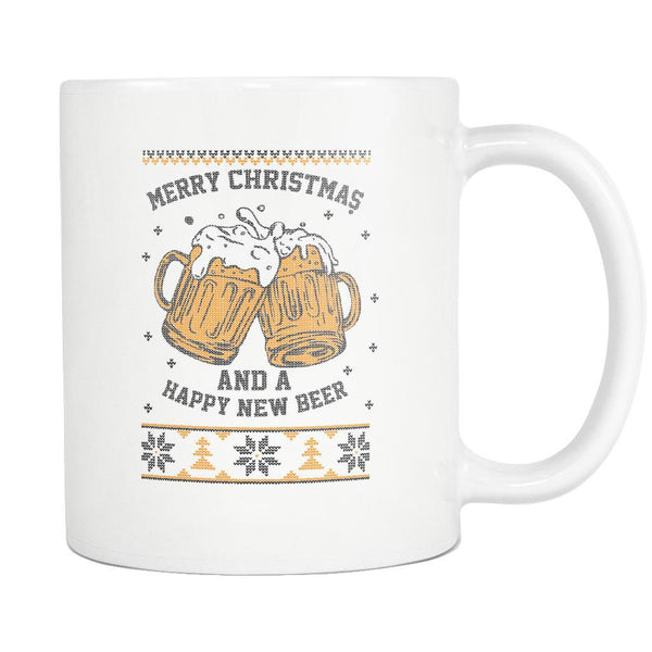 Merry Christmas And A Happy New Beer Funny Ugly Christmas Sweater White 11oz Coffee Mug-Drinkware-Ugly Christmas Sweater White 11oz Coffee Mug-JoyHip.Com
