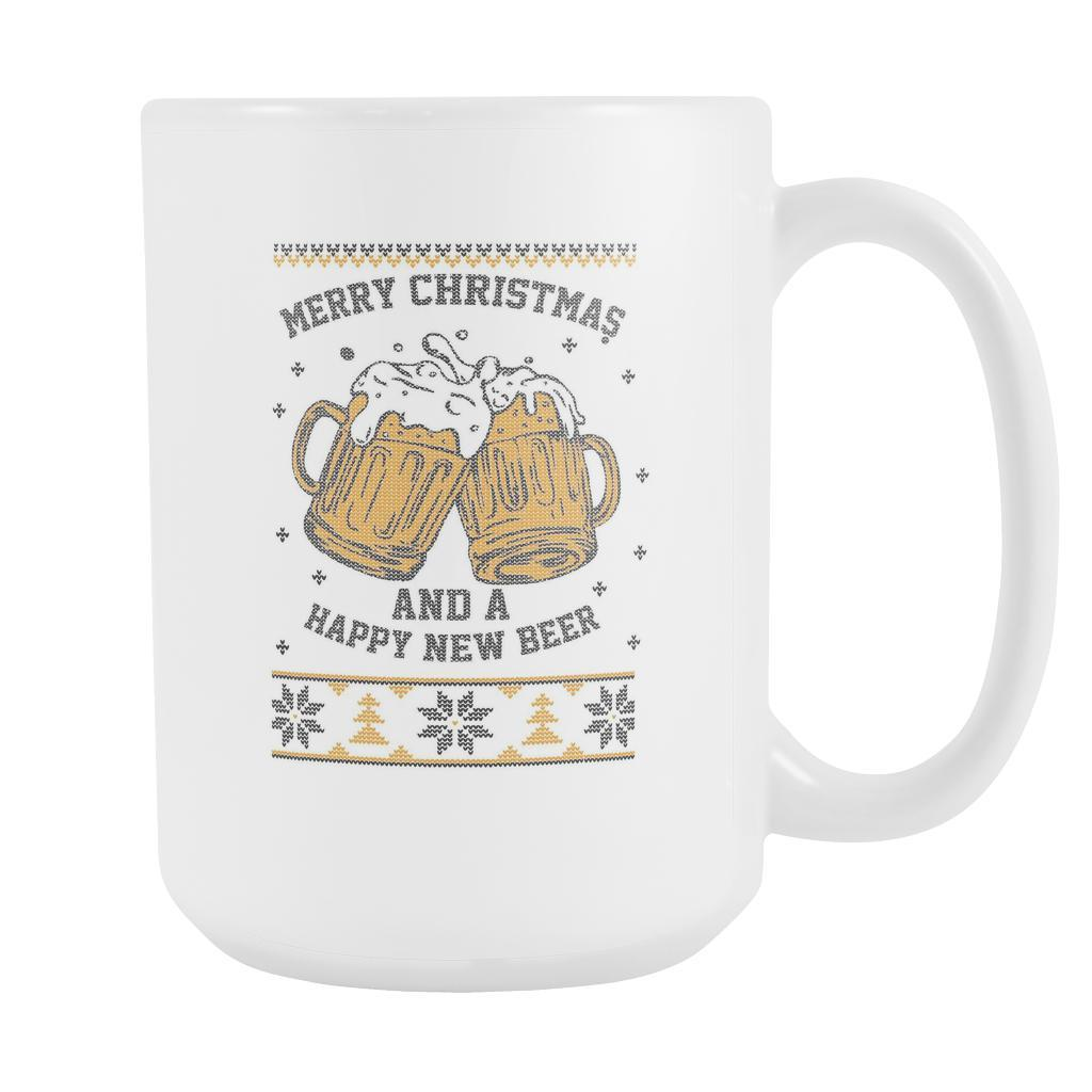 Merry Christmas And A Happy New Beer Funny Ugly Christmas Sweater White 15oz Coffee Mug-Drinkware-Ugly Christmas Sweater White 15oz Coffee Mug-JoyHip.Com