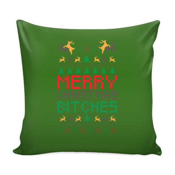 Merry Christmas Bitches Funny Festive Ugly Christmas Holiday Sweater Decorative Throw Pillow Cases Cover(4 Colors)-Pillows-Green-JoyHip.Com