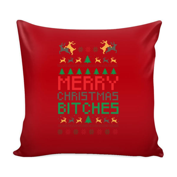 Merry Christmas Bitches Funny Festive Ugly Christmas Holiday Sweater Decorative Throw Pillow Cases Cover(4 Colors)-Pillows-Red-JoyHip.Com