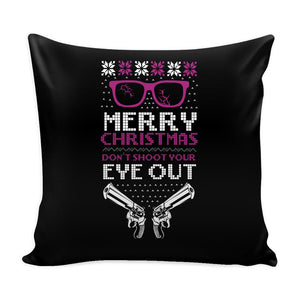 Merry Christmas Don't Shoot Your Eye Out 2nd Amendment Funny Festive Ugly Christmas Holiday Sweater Decorative Throw Pillow Cases Cover(4 Colors)-Pillows-Black-JoyHip.Com