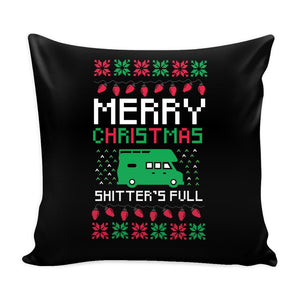 Merry Christmas Shitters Full Funny Festive Ugly Christmas Holiday Sweater Decorative Throw Pillow Cases Cover(4 Colors)-Pillows-Black-JoyHip.Com