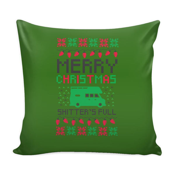 Merry Christmas Shitters Full Funny Festive Ugly Christmas Holiday Sweater Decorative Throw Pillow Cases Cover(4 Colors)-Pillows-Green-JoyHip.Com