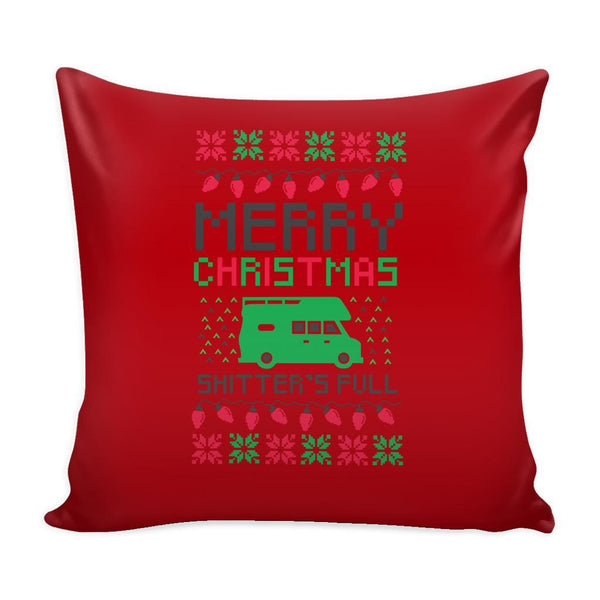 Merry Christmas Shitters Full Funny Festive Ugly Christmas Holiday Sweater Decorative Throw Pillow Cases Cover(4 Colors)-Pillows-Red-JoyHip.Com