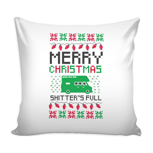 Merry Christmas Shitters Full Funny Festive Ugly Christmas Holiday Sweater Decorative Throw Pillow Cases Cover(4 Colors)-Pillows-White-JoyHip.Com