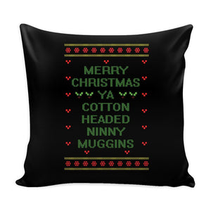 Merry Christmas Ya Cotton Headed Ninny Muggins Funny Buddy The Elf Festive Funny Ugly Christmas Holiday Sweater Decorative Throw Pillow Cases Cover(4 Colors)-Pillows-Black-JoyHip.Com