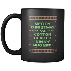 Merry Christmas Ya Cotton Headed Ninny Muggins Funny Buddy The Elf Ugly Christmas Sweater Black 11oz Coffee Mug-Drinkware-Ugly Christmas Sweater Black 11oz Coffee Mug-JoyHip.Com