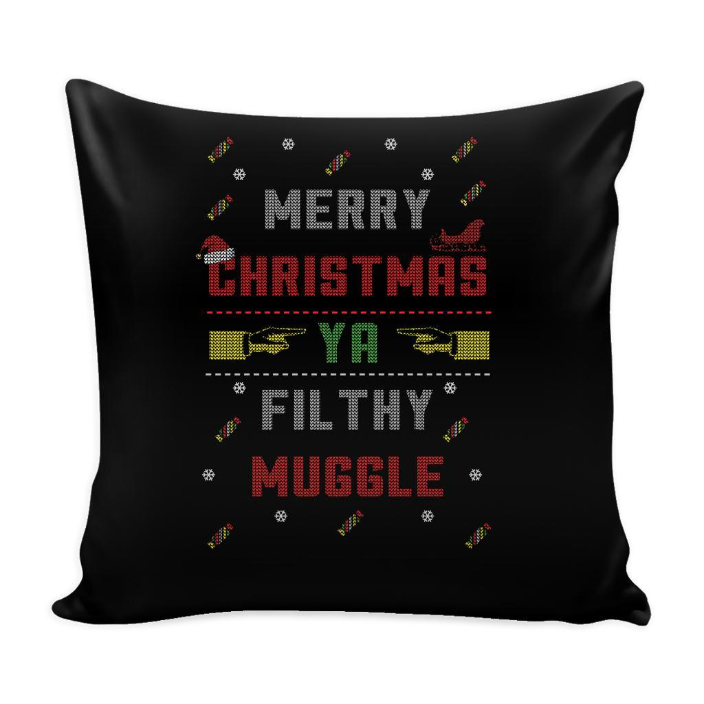 Merry Christmas Ya Filthy Muggle Funny Festive Funny Ugly Christmas Holiday Sweater Decorative Throw Pillow Cases Cover(4 Colors)-Pillows-Black-JoyHip.Com