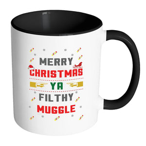Merry Christmas Ya Filthy Muggle Funny Ugly Christmas Sweater 11oz Accent Coffee Mug (7 Colors)-Drinkware-Accent Mug - Black-JoyHip.Com