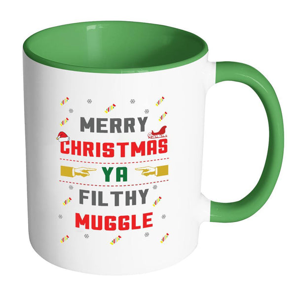 Merry Christmas Ya Filthy Muggle Funny Ugly Christmas Sweater 11oz Accent Coffee Mug (7 Colors)-Drinkware-Accent Mug - Green-JoyHip.Com