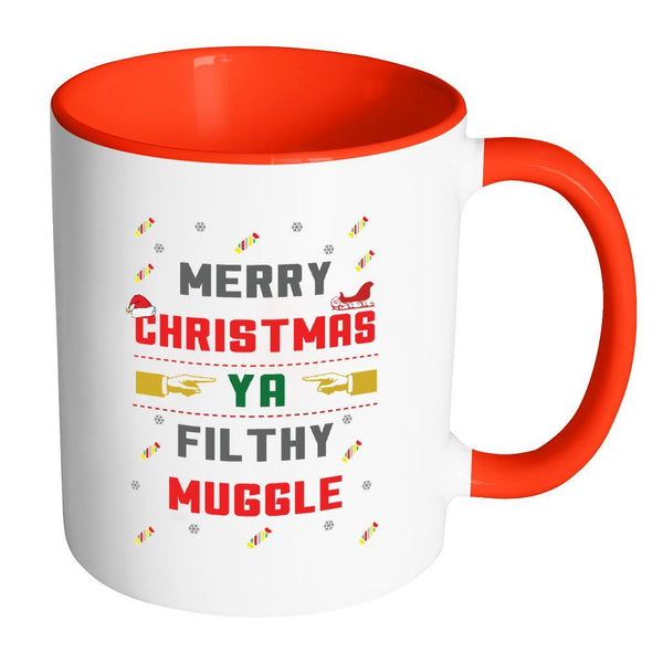 Merry Christmas Ya Filthy Muggle Funny Ugly Christmas Sweater 11oz Accent Coffee Mug (7 Colors)-Drinkware-Accent Mug - Red-JoyHip.Com