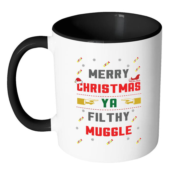 Merry Christmas Ya Filthy Muggle Funny Ugly Christmas Sweater 11oz Accent Coffee Mug (7 Colors)-Drinkware-JoyHip.Com