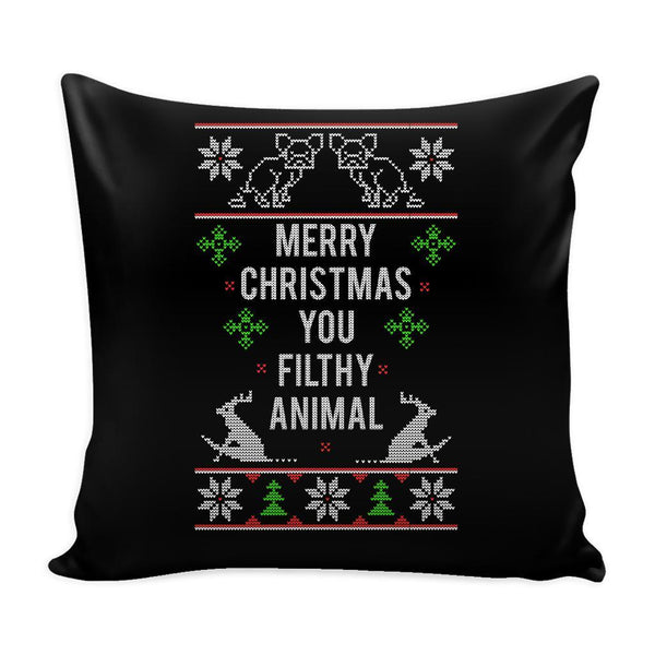 Merry Christmas You Filthy Animal Festive Funny Ugly Christmas Holiday Sweater Decorative Throw Pillow Cases Cover(4 Colors)-Pillows-Black-JoyHip.Com
