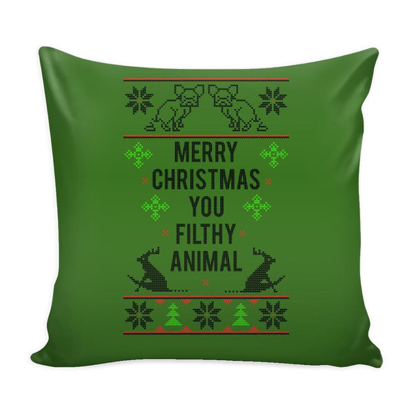 Merry Christmas You Filthy Animal Festive Funny Ugly Christmas Holiday Sweater Decorative Throw Pillow Cases Cover(4 Colors)-Pillows-Green-JoyHip.Com