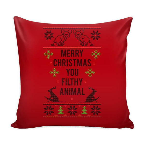 Merry Christmas You Filthy Animal Festive Funny Ugly Christmas Holiday Sweater Decorative Throw Pillow Cases Cover(4 Colors)-Pillows-Red-JoyHip.Com