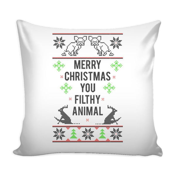 Merry Christmas You Filthy Animal Festive Funny Ugly Christmas Holiday Sweater Decorative Throw Pillow Cases Cover(4 Colors)-Pillows-White-JoyHip.Com