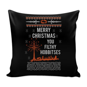 Merry Christmas You Filthy Hobbitses Lord Of The Rings Festive Funny Ugly Christmas Holiday Sweater Decorative Throw Pillow Cases Cover(4 Colors)-Pillows-Black-JoyHip.Com