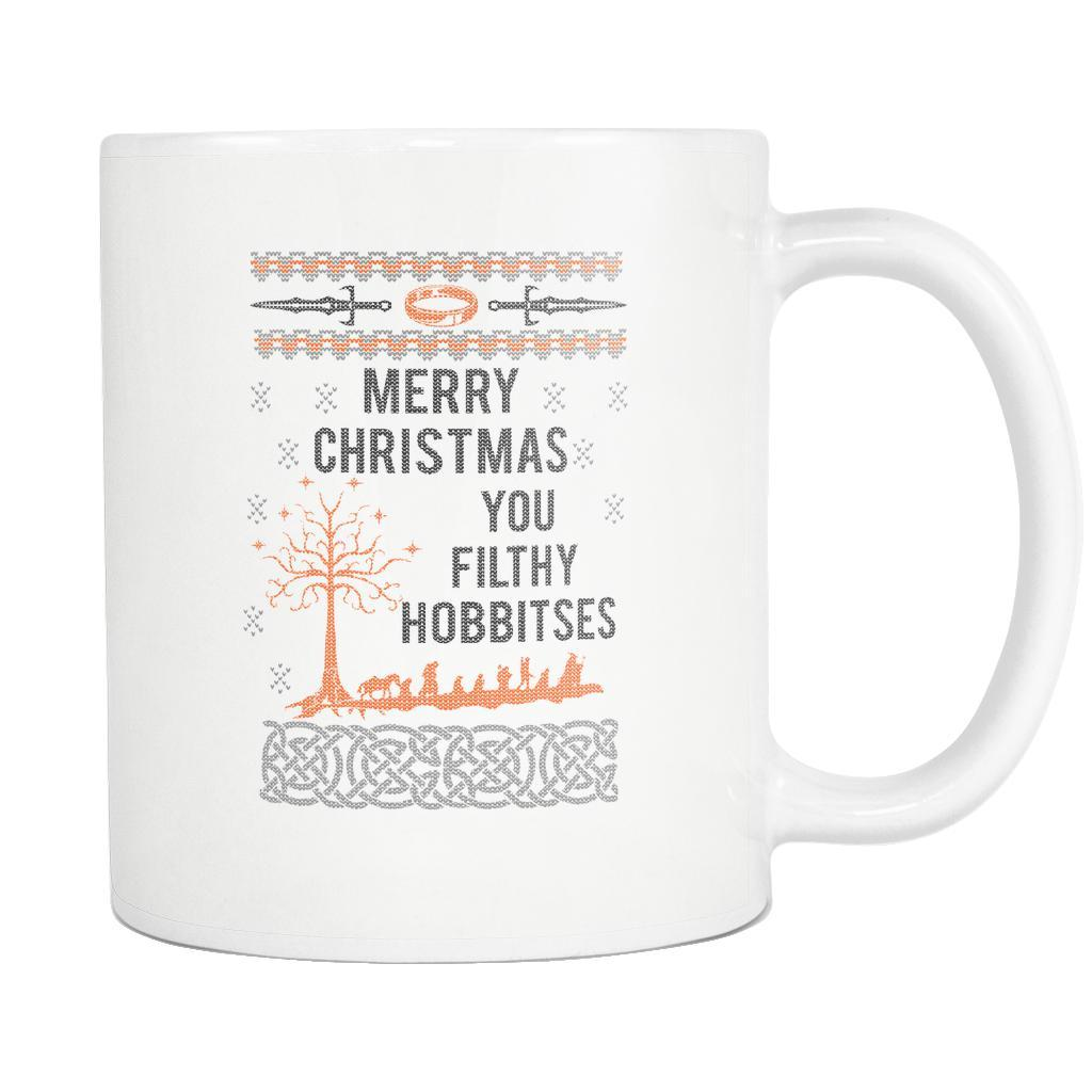 Merry Christmas You Filthy Hobbitses Lord Of The Rings Ugly Christmas Sweater White 11oz Coffee Mug-Drinkware-Ugly Christmas Sweater White 11oz Coffee Mug-JoyHip.Com