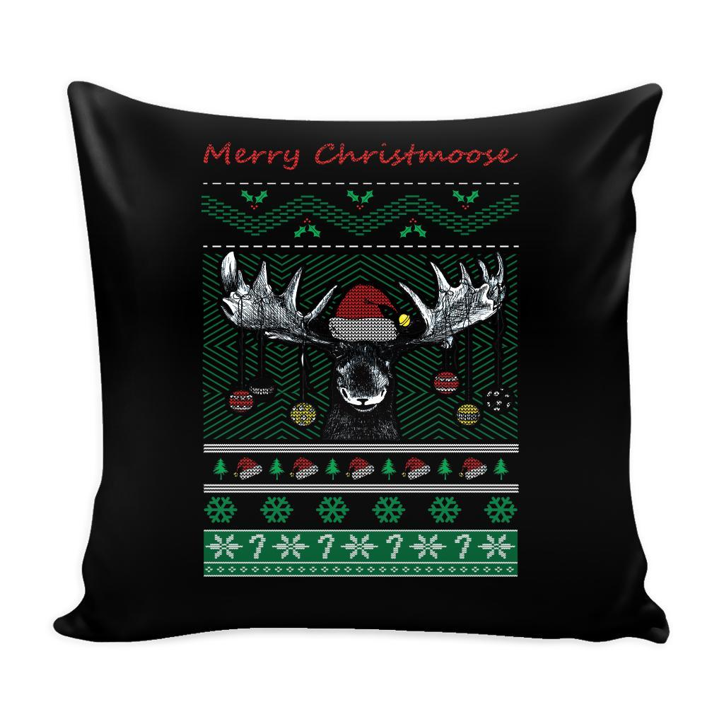 Merry Christmoose Funny Hunting Festive Funny Ugly Christmas Holiday Sweater Decorative Throw Pillow Cases Cover(4 Colors)-Pillows-Black-JoyHip.Com