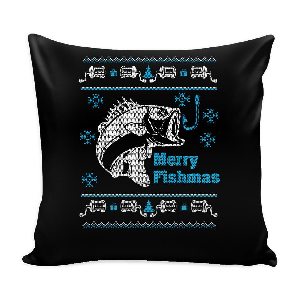 Merry Fishmas Fishing Festive Funny Ugly Christmas Holiday Sweater Decorative Throw Pillow Cases Cover(4 Colors)-Pillows-Black-JoyHip.Com