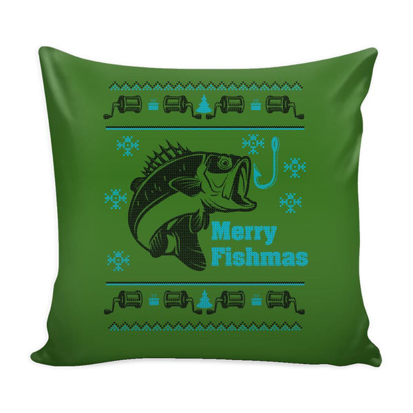 Merry Fishmas Fishing Festive Funny Ugly Christmas Holiday Sweater Decorative Throw Pillow Cases Cover(4 Colors)-Pillows-Green-JoyHip.Com