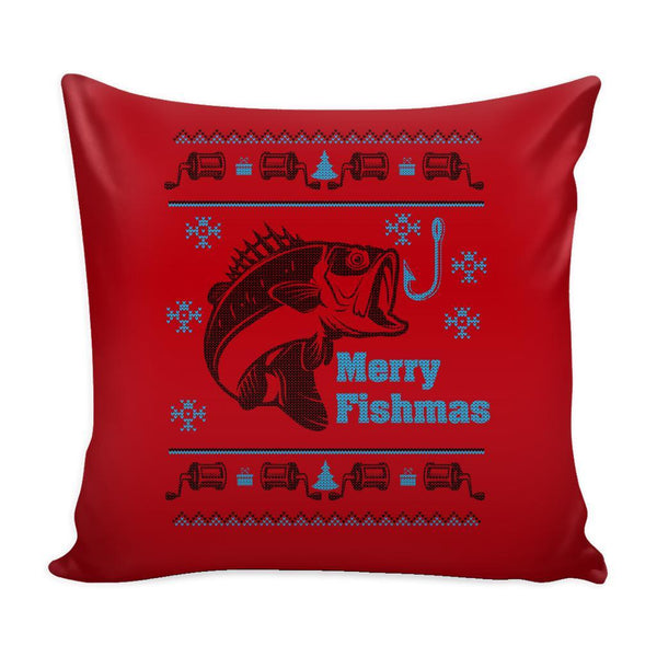 Merry Fishmas Fishing Festive Funny Ugly Christmas Holiday Sweater Decorative Throw Pillow Cases Cover(4 Colors)-Pillows-Red-JoyHip.Com