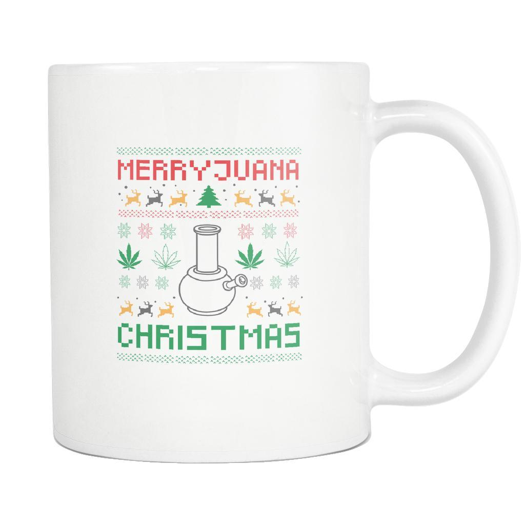 Merry Juana Cannabis Weed Pot Grass Herb Boom Funny Ugly Christmas Holiday Sweater White 11oz Coffee Mug-Drinkware-Ugly Christmas Sweater White 11oz Coffee Mug-JoyHip.Com