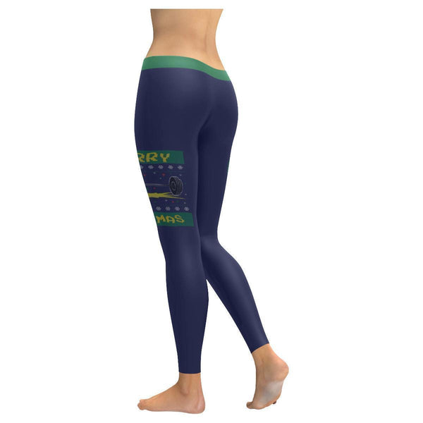 Merry Liftmas Epic Crossfit Weight Lifting Gifts Ugly Christmas Womens Leggings-JoyHip.Com