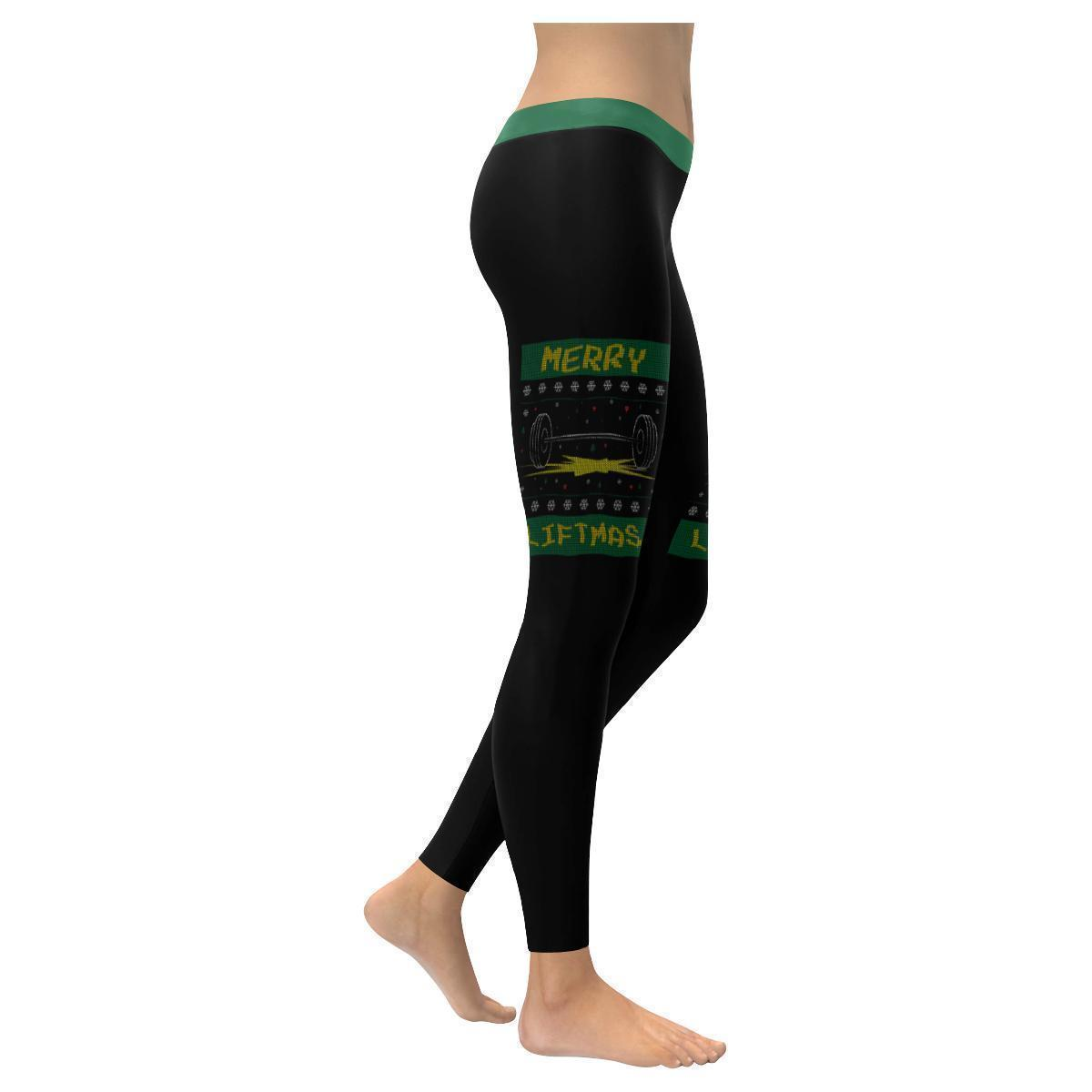 Merry Liftmas Epic Crossfit Weight Lifting Gifts Ugly Christmas Womens Leggings-XXS-Black-JoyHip.Com