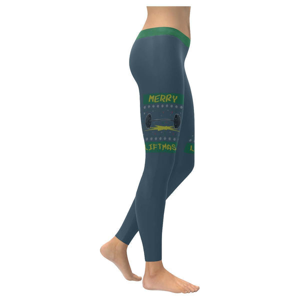Merry Liftmas Epic Crossfit Weight Lifting Gifts Ugly Christmas Womens Leggings-XXS-Grey-JoyHip.Com