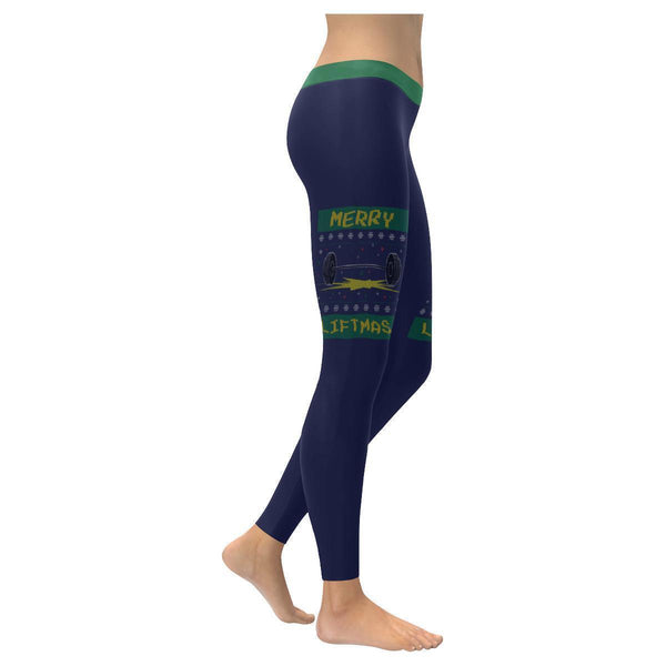Merry Liftmas Epic Crossfit Weight Lifting Gifts Ugly Christmas Womens Leggings-XXS-Navy-JoyHip.Com