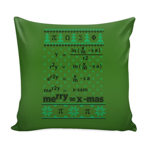 Merry = X-Mas Math Equation Festive Funny Ugly Christmas Holiday Sweater Decorative Throw Pillow Cases Cover(4 Colors)-Pillows-Green-JoyHip.Com